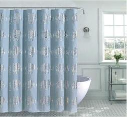 Kate Aurora Bohemian Metallic Elephants Fabric Shower Curtai