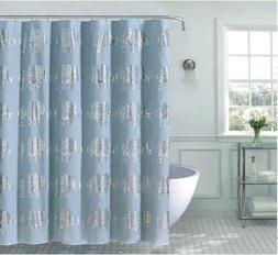 Kate Aurora Bohemian Metallic Elephants Fabric Shower Curtai