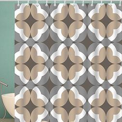 BROSHAN Bohemian Stripe Shower Curtain,Geometric Modern Tan