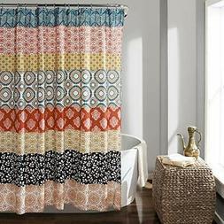 Bohemian Stripe Shower Curtain Turquoise/Orange Anthropologi