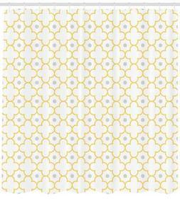 Boho Quatrefoil Shower Curtain Fabric Decor Set with Hooks 4