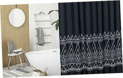 Boho Tassel Fabric Shower Curtain 96 Inch Extra Long Geometr