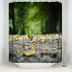 Bokeh Blur Background Road with Green Leaves Shower Curtain