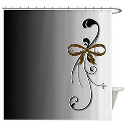 CafePress - Elegant Black &Amp; White Swirls With Gold Bow -