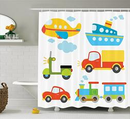 Ambesonne Boy's Shower Curtain, Abstract Transportation Type