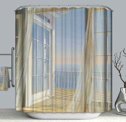 Breezy Ocean Balcony View Fabric Shower Curtain 70x70 Door W