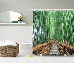 Bridge Over Tree Bamboos Colorful Nature Shower Curtain Extr