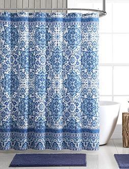 Bright Blue Aqua White Fabric Shower Curtain: Boho Floral Ma