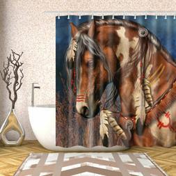 Brown Horse Fabric Shower Curtain Set 12 Hooks Waterproof Ba