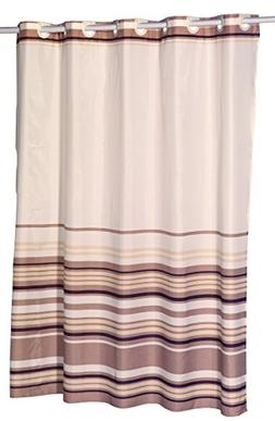 Brown Stripes EZ On Hookless Fabric Extra Wide Shower Curtai