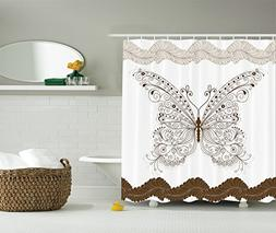 Ambesonne Brown and White Shower Curtain Butterfly Decor by,