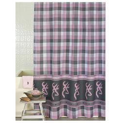 "Browning Grey Pink Plaid Buckmark Shower Curtain 72"" x 72"""