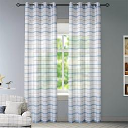 DEZENE Buffalo Checkered Sheer Curtains for Doors with Windo