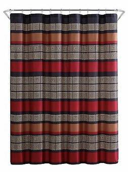 Burgundy Black Copper Beige Fabric Shower Curtain: Wide Stri