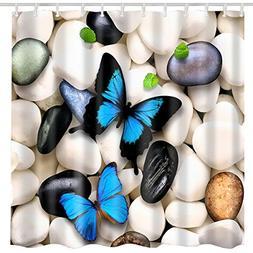 BROSHAN Butterfly Decor Shower Curtain Fabric,Cute Animal Be