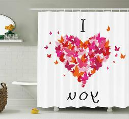 Ambesonne Butterfly Heart Figure Love Shower Curtain Set