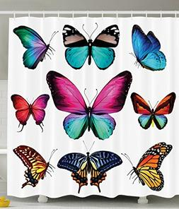 Ambesonne Butterfly Shower Curtain, Vibrant Butterflies Flyi