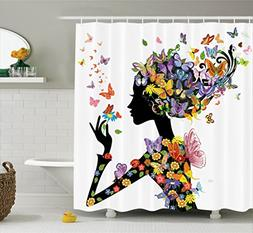 Butterfly Shower Curtain Girl Decor by Ambesonne, Girl Fashi