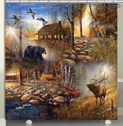 cabin animals shower curtain
