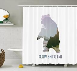 Ambesonne Cabin Decor Shower Curtain by, Wild Animals of Can