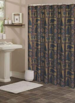 Cabin Pine Retreat Lodge Forest Fabric Shower Curtain, Moder