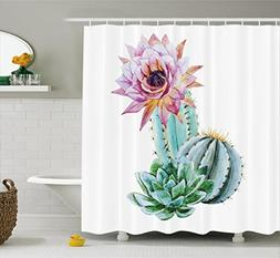 Ambesonne Cactus Decor Shower Curtain, Cactus Spikes Flower