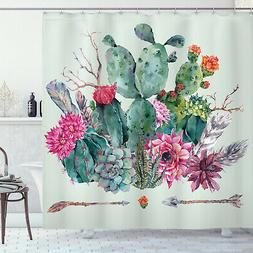 Cactus Shower Curtain Thorny Boho Blossoms Print for Bathroo