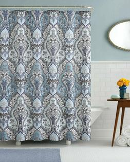 Calais Dobby Silver Teal Aqua Blue Gray Brown Paisley Fabric
