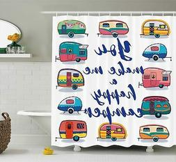 Camper Shower Curtain by Ambesonne, You Make Me Happy Camper
