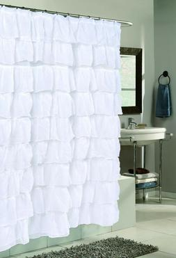 Carmen Ruffle Fabric Shower Curtain - Crushed Voile Sheer Ru