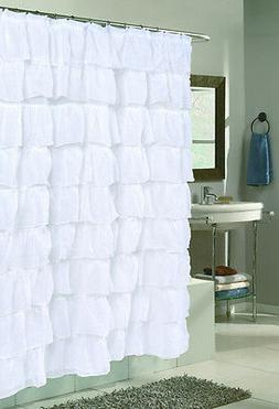 Carmen Ruffled Fabric Shower Curtains - Assorted Colors & St