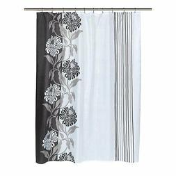 """Carnation Home """"Chelsea"""" Fabric Shower Curtain in Black"""