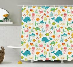 Ambesonne Cartoon Decor Collection, Underwater Animals Aquat