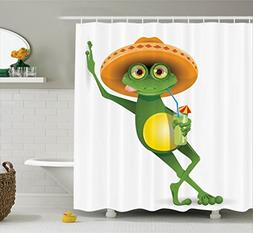 Ambesonne Cartoon Decor Collection, Frog in a Sombrero and a