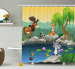 Ambesonne Cartoon Decor Shower Curtain, Funny Mascots Animal