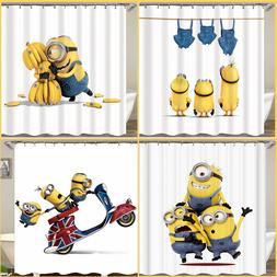 cartoon minion pattern waterproof fabric shower curtain