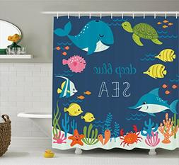 Ambesonne Cartoon Shower Curtain, Artsy Underwater Graphic w