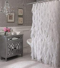 Cascade Shabby Chic Ruffled Sheer Shower Curtain White Showe