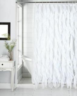 "Cascade Shabby Chic Ruffled Sheer Shower Curtain 70"" X 72"","