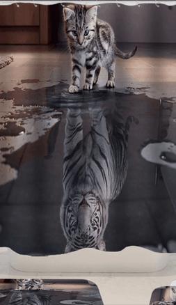 Cat with Tiger Heart Bathroom Accessories Mildew Waterproof