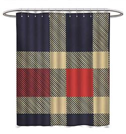 Anhuthree Checkered Shower Curtain Collection by Vintage Pla