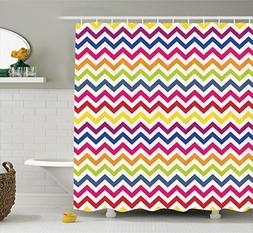 Ambesonne Chevron Decor Shower Curtain Set, Chevron Pattern