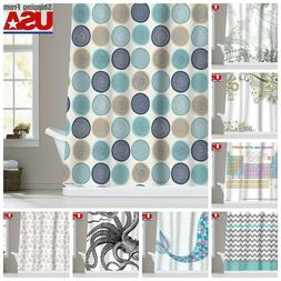 Chevron Mermaid Pattern Waterproof Fabric Shower Curtain Bat