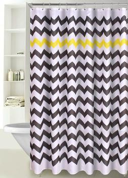 Chevron Print Zig Zag Fabric Shower Curtain with Reinforced