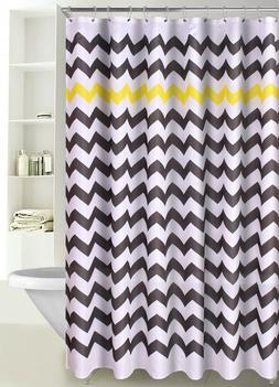 Chevron Print Zig Zag Fabric Shower Curtain with Reinforced