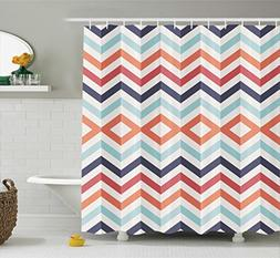 Ambesonne Chevron Shower Curtain Geometric Print Decor, Zig