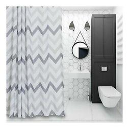 "Chevron Fabric Shower Curtain 72"" x 72"" Geometric,Grey,White"