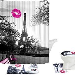Amagical 16 Piece Chic Grey Paris Eiffel Tower Waterproof Sh