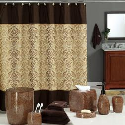DS BATH Chocolate and Brown Polyester Waterproof Fabric Prin
