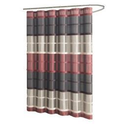 Chocolate/Burgundy/Taupe Fabric Shower Curtain: Faux Silk, W